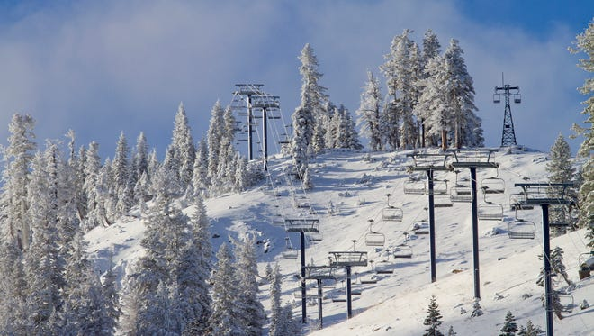 A view of a snow-covered ski slope at Sugar Bowl Resort taken Nov. 10, 2015.