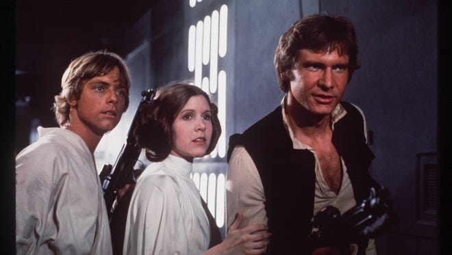 Mark Hamill, Carrie Fisher and Harrison Ford, the original trio of the 'Star Wars' franchise.