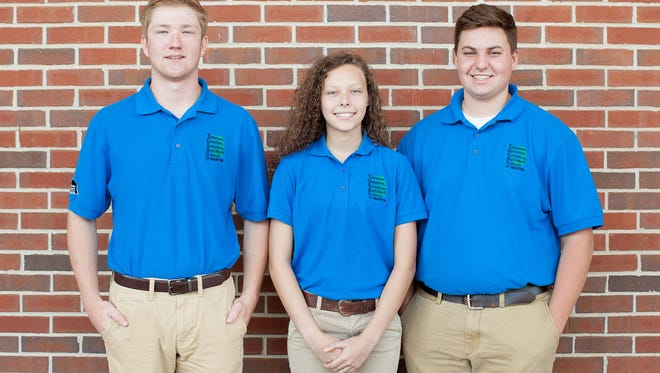 From left, Miles Wilbur, of Palmyra, and Destiney Speight and Lucas Wilson, both of Clarksville, spent the month of June as students at the Tennessee Governor's School for the Agricultural Sciences, hosted by the University of Tennessee at Martin.