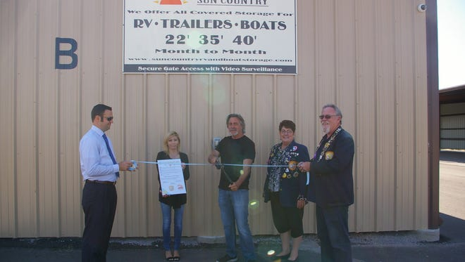 Judith Reynaud and her husband, Ernest Jabour recently celebrated a ribbon cutting for SunCountry RV & Boat Storage in Radium Springs.