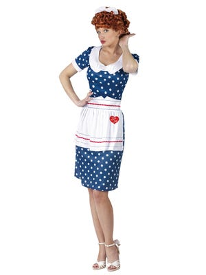 "Halloween costumes keep adults young at heart. ""I Love Lucy"" Sassy Lucy costume, $34.38 to $67.61 at Walmart."