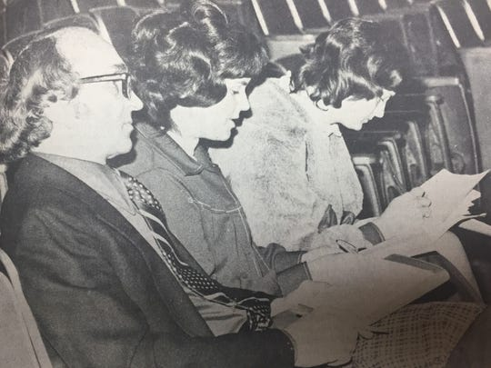 "The Union County High School Dramatics Club presented the play ""Nobody"" in February 1975. Shown critiquing the play are (left to right) Wilson A. Frayer, Mrs. Judi Truitt, and Mrs. Jeannie Vaughn."