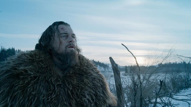 """Leonardo DiCaprio is Hugh Glass, a 19th-century fur trapper who seeks vengeance against those who robbed and left him for dead after a bear attact, in """"The Revenant."""""""