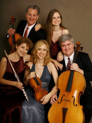 The American Chamber Players includes violist Miles Hoffman (top row from left), pianist Anna Stoytcheva, flutist Sara Stern (bottom row from left), violinist Joanna Maurer, and cellist Stephen Balderston. The group will perform two classical music concerts in Corpus Christi.
