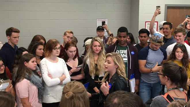Actress Chloe Grace Moretz was in town Friday in an effort to get Michigan State University students to the polls this fall.