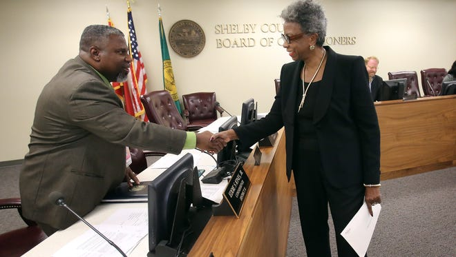 November 2, 2016 - Shelby County Commission Ad Hoc committee member Joe Claiborne (left) greets Eleanor Tillman Ramsey before her presentation of a disparity study.