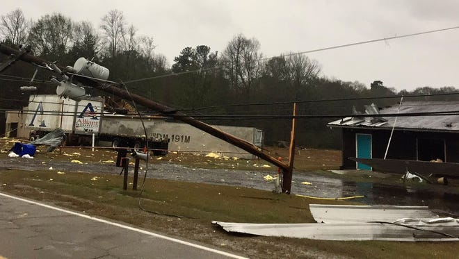 Storm damage in Mendenhall and other areas of Mississippi was reported Monday.