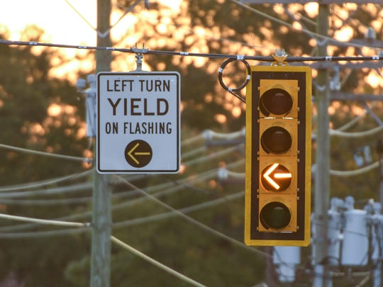 Flashing yellow arrow traffic signals, like this one on Whitehall Road in Anderson on Wednesday, feature a flashing yellow arrow in addition to the standard red, yellow and green arrows. When illuminated, the flashing yellow arrow allows waiting motorists to make a left-hand turn after yielding to oncoming traffic.