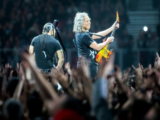Lead guitarist Kirk Hammett of Metallica performs,
