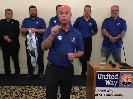 Danny Negin, 2017 United Way chairman, makes a point during the campaign kickoff Wednesday, Sept. 6, 2017, in Marysville.