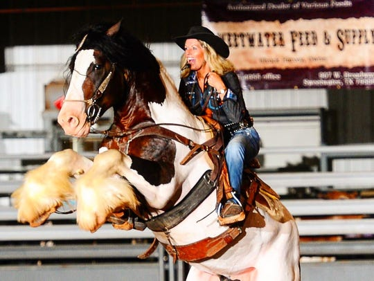 Crystal Lyons on her horse Strider.