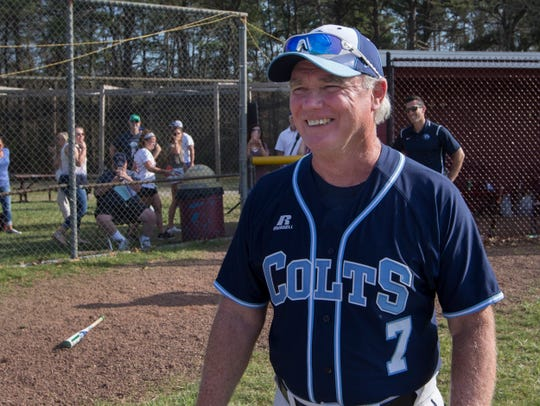 CBA Coach Marty Kenney was all smiles after coaching his team to its 800th victory under his coaching. CBA baseball defeats Wall in seventh inning heroics during Strikeout Autism Baseball Challenge at Central Regional High School in Berkeley on April 14, 2018.