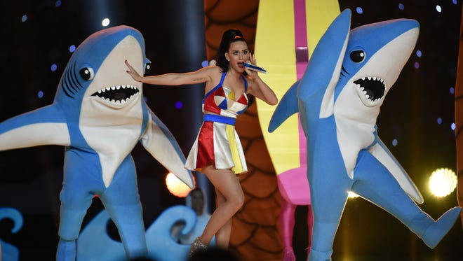 Singer Katy Perry brought her own sharknado to the halftime show during Super Bowl XLIX on Sunday at the University of Phoenix Stadium in Glendale, Arizona.