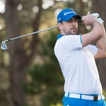 Aaron Rodgers tees off on the second hole during the first round of the AT&T Pebble Beach National Pro-Am at Spyglass Hill Golf Course on Thursday.