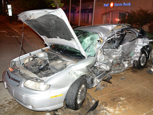 This Chevy Classic was struck by a Ford Explorer driven