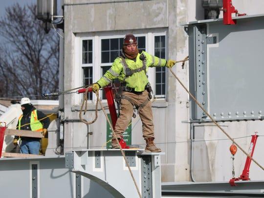 On Friday, Feb. 2, crews set the final bridge beams
