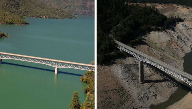 Photos show difference between 2011 and 2014 in California in terms of water levels.