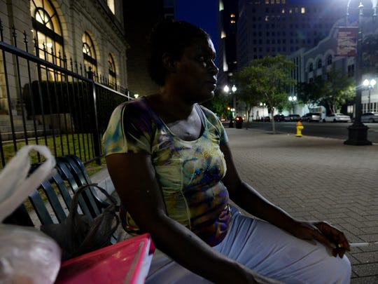 A homeless woman in downtown Shreveport.