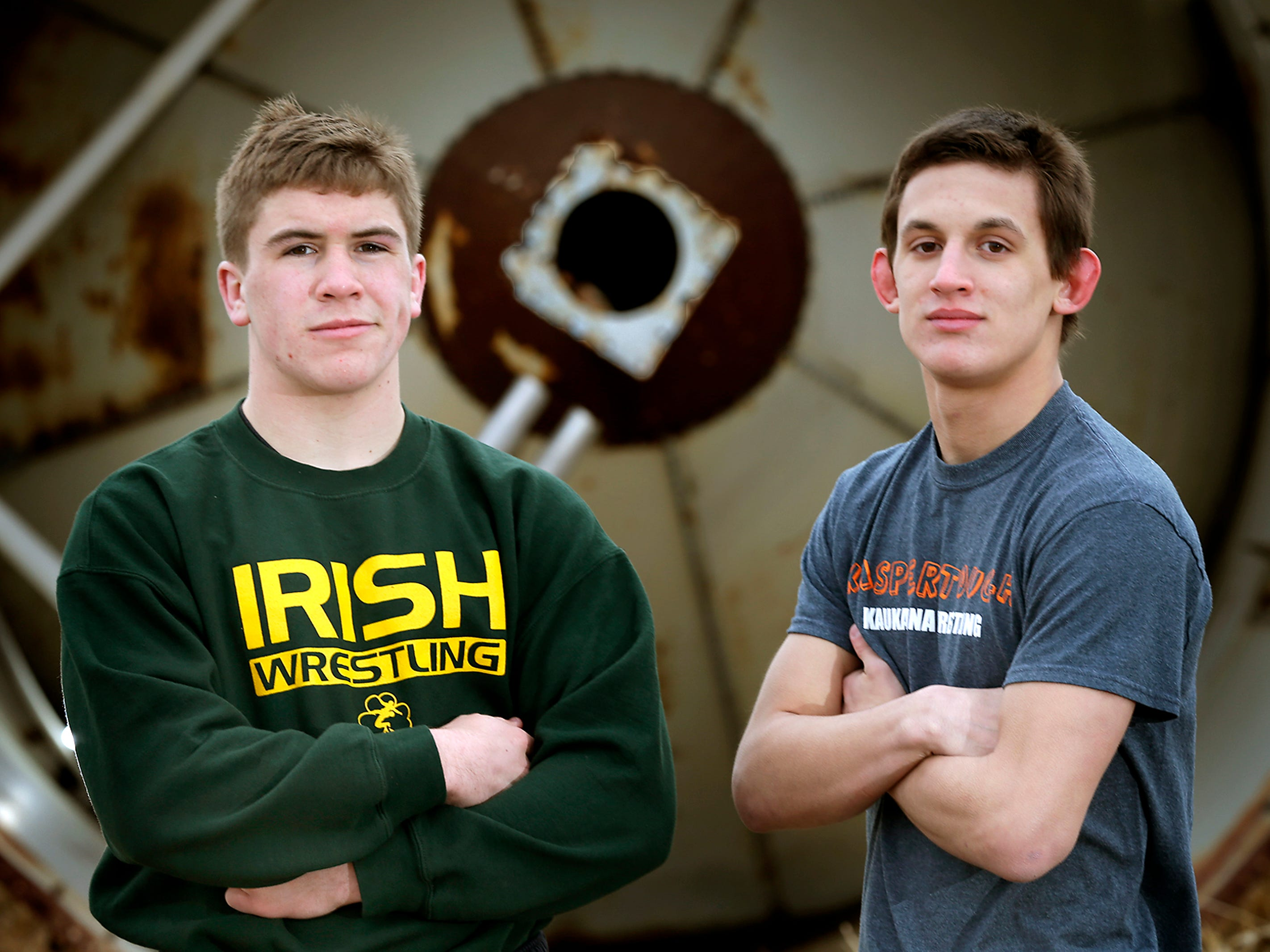 Post-Crescent Media's co-wrestlers of the year are Freedom's Ramsey Bloy (left) and Kaukauna's Robert Lee.