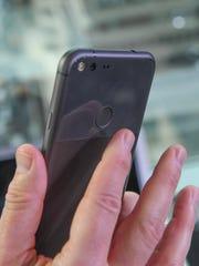 The new fingerprint scanner on the back of the Google