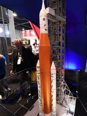 Model of NASA's Space Launch System in Las Vegas.
