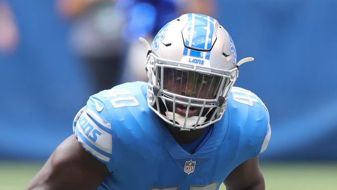 Lions rookie Jarrad Davis awaits the snap in the second quarter against the Colts, Aug. 13, 2017 in Indianapolis.