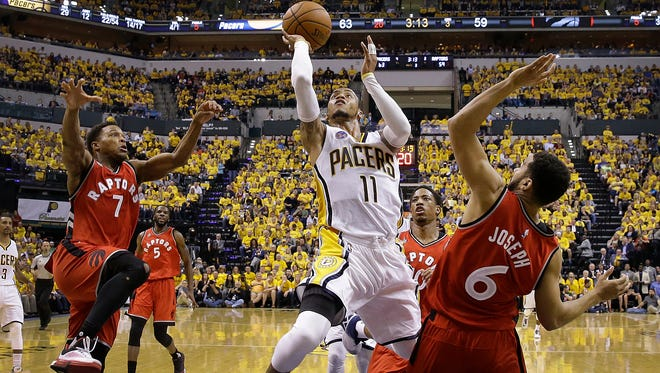Indiana Pacers guard Monta Ellis (11) drives on Toronto Raptors guard Cory Joseph (6) in the second half of their NBA Eastern Conference playoff game Friday, Apr 29, 2016, evening at Bankers Life Field House. The Indiana Pacers defeated the Toronto Raptors 101-83.
