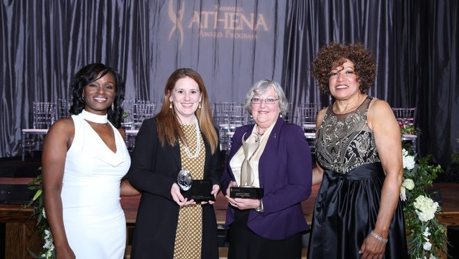 The 2018 Athena awards took place at City Winery in Nashville. Celebrating the honors are Athena co-chair Andrea Perry, far left, young professional recipient Emily Passini, Athena recipient Nancy Corley and chair Roxianne Bethune.