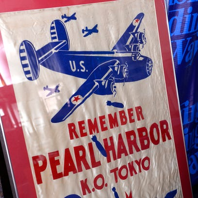 A flag from WWII and the Willow Run bomber plant that