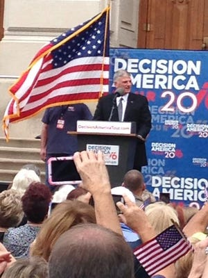 Franklin Graham, son of Christian evangelist Billy Graham, speaks during a Decision America rally at the Indiana Statehouse Wednesday, Oct. 5, 2016.