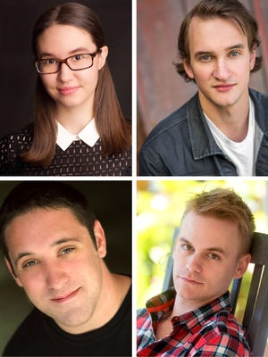 """(Clockwise from top left) Annabelle Szepietowski as Dorothy, Matthew Combs as Scarecrow, Stephen Shore as Tinman and Bryan Plummer as Lion star in the Roxy Regional Theatre's production of THE WIZARD OF OZ, opening Friday, September 8, at 8:00pm"
