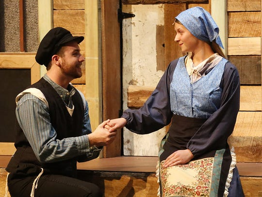 "Austin Hazel and Megan Alford rehearse ""Fiddler on the Roof"" at Fond du Lac High School."