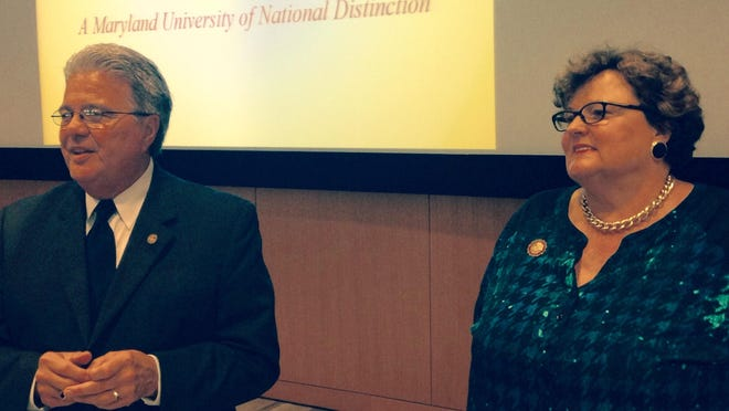 Robert Caret, chancellor at the University System of Maryland, and Salisbury University President Janet Dudley-Eshbach talk to stakeholders at an SU forum Sept. 30.