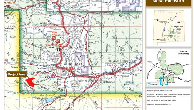 The map shows the area of the Mesa Pile burn near Grindstone in the Ruidoso area.