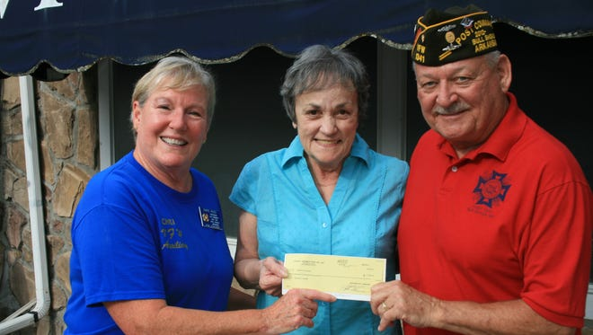 Barbara Cardillo, center, a lifetime member of Bull Shoals VFW Auxiliary Post 1341 accepts a check for $3,500 from Chris Ross, left, auxiliary president and Kirk Smith VFW commander. The money raised from a benefit Luau dinner and dance, silent auction, along with private donations, goes to Cardillo to help with recent surgery and medical expenses. The VFW Post and Auxiliary would like to thank all the local businesses who donated to this event and the Marion County Polynesian Ohana Dance Group who preformed at the Luau dinner, as well as Debbie Noirfalise, coordinator of the event and all the Bull Shoals VFW volunteers.