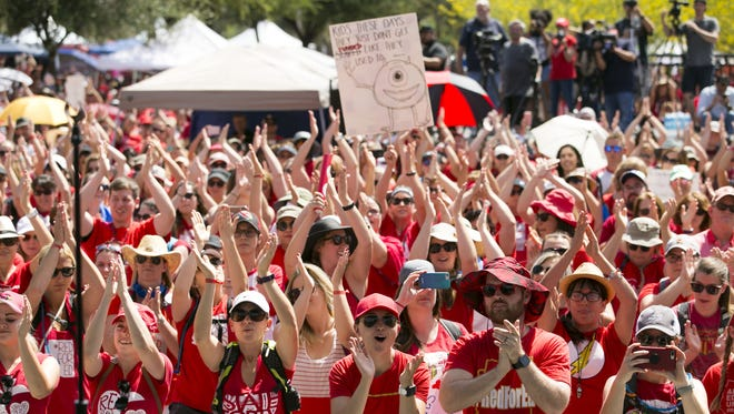 Teachers and other supporters at a RedForEd rally at the Arizona Capitol in Phoenix on the second day of the Arizona teacher walkout on Friday, April 27, 2018.