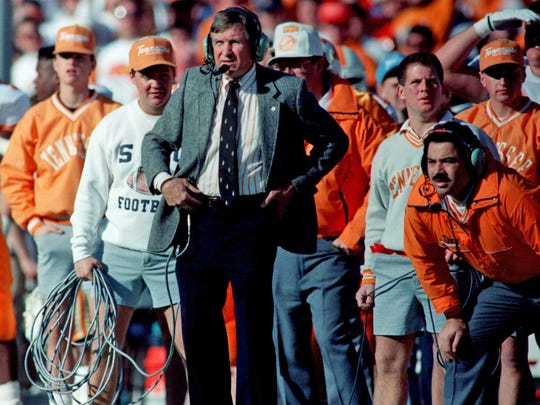 Johnny Majors coaches Tennessee against Arkansas in the Cotton Bowl on Jan. 1, 1990. The Vols won 31-27.