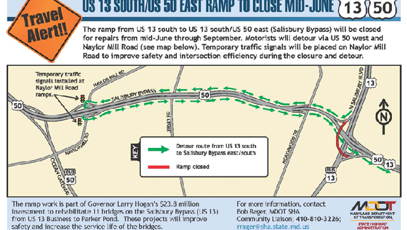 Salisbury Bypass Ramp Closing For Months For Road Work - Us route 50 map