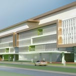A rendering shows the east facade of the patient care and administration building at the proposed new U. S. Veterans Affairs Medical Center, 4906 Brownsboro Road in Louisville.