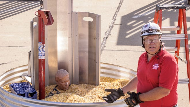 A safety official discusses a grain bin rescue during National Farm Safety and Health Week.