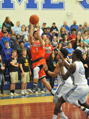 Galion's Isaiah Alsip puts up a running jumper from a tough angle.