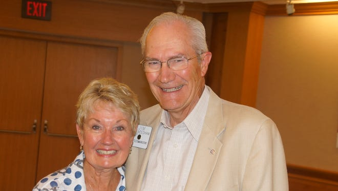 Jim Needham, recipient of the Merrill Greene Award for 2017 from the Muncie Rotary Club, is shown with  his wife, Linda.