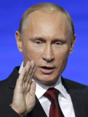 Russian president Vladimir Putin watches as  Russian stocks were feeling the heat from U.S. sanctions. Two Russian banks including Bank Rossiya, the Russian lender which was put on the Treasuryâ??s sanctions list, said Visa and MasterCard stopped providing services to them. President Putin on Friday ordered the countryâ??s central bank to help clients of Rossiya. He denied having an account there but ordered the Central Bank to â??take the bankâ??s clients under protection and provide all possible assistance to them.â?
