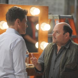Jason Alexander, left, guest stars as the creator of a show-within-a-show starring Dean Sanderson (Rob Lowe) on Fox's 'The Grinder.'