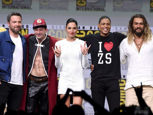 'Justice League' stars Ben Affleck (from left), Ezra