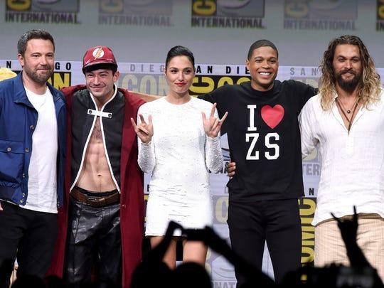 'Justice League' stars Ben Affleck (from left), Ezra