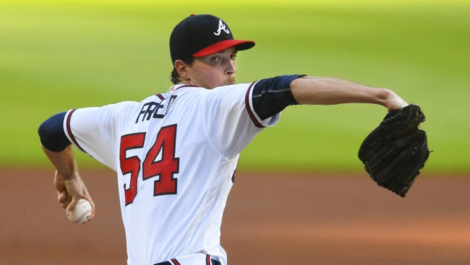 Max Fried pitches against the Tampa Bay Rays during thre first inning of a baseball game Thursday, July 30, 2020 in Atlanta.