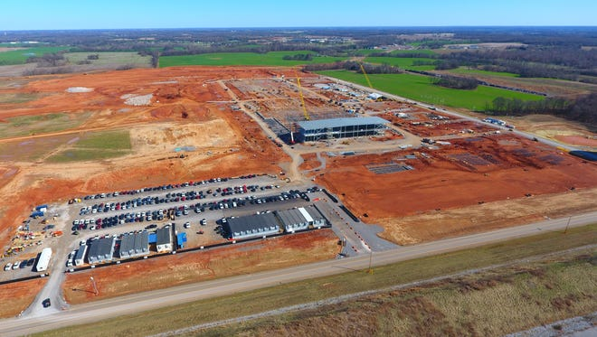 Aerial view of early construction on Clarksville's phase 1, $250 million LG plant.