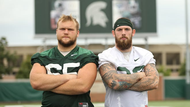 Michigan State captains Brian Allen, left, and Chris Frey have been pivotal senior leaders for the Spartans' recovery from last season.