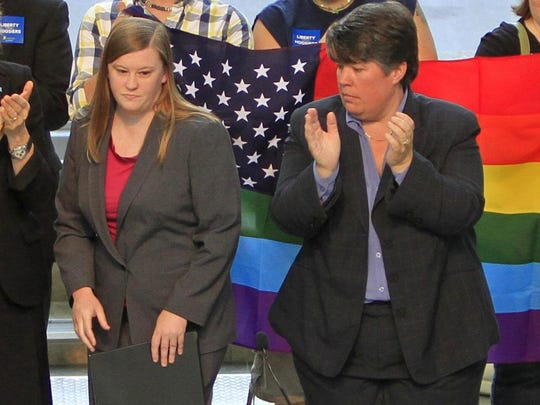 Megan Robertson (left) was Freedom Indiana's campaign manager when the organization launched a campaign to oppose a proposed constitutional amendment to ban same-sex marriage in Indiana. Chris Paulsen (right) is the new campaign manager.